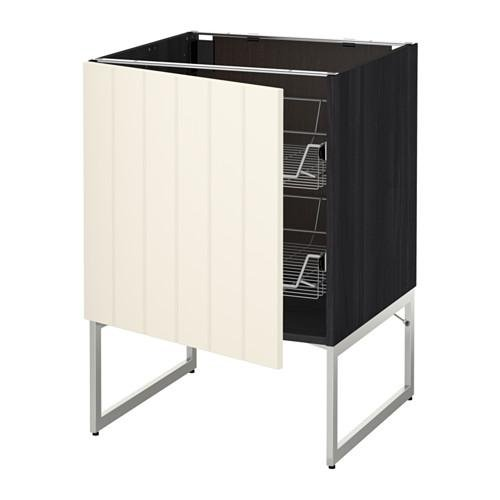 МЕТОД Напольный шкаф с проволочн ящиками - 60x60x60 см, Хитарп белый с оттенком, под дерево черный