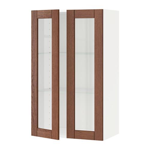 МЕТОД Навесной шкаф с полками/2 стекл дв - 60x100 см, Филипстад коричневый, белый