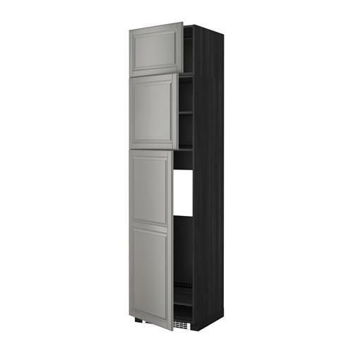 МЕТОД Высокий шкаф д/холодильника/3дверцы - Будбин серый, под дерево черный