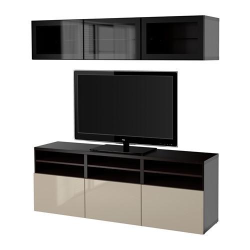 Supporto Tv Da Tavolo Ikea.Bessto Gabinetto Per Tv Porte Combinate Vetro Nero