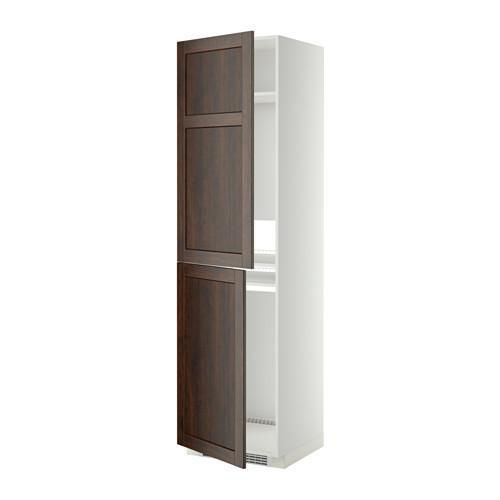 МЕТОД Высок шкаф д холодильн/мороз - 60x60x220 см, Эдсерум под дерево коричневый, белый