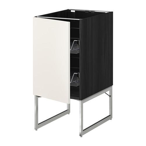 МЕТОД Напольный шкаф с проволочн ящиками - 40x60x60 см, Веддинге белый, под дерево черный