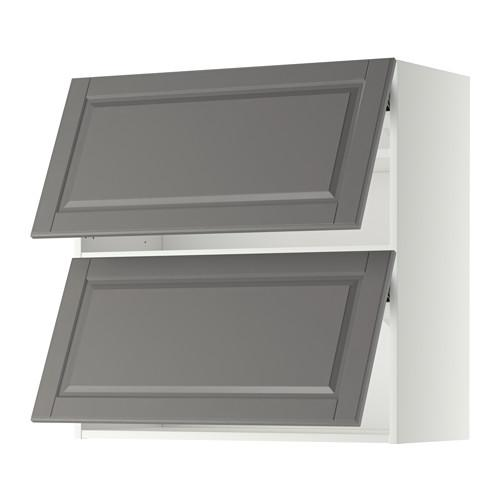 МЕТОД Навесной шкаф/2 дверцы, горизонтал - 80x80 см, Будбин серый, белый