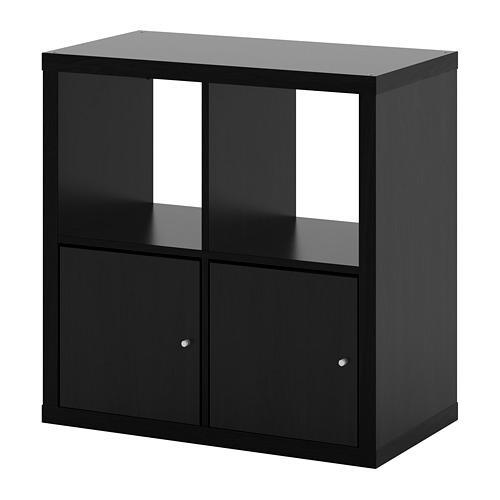KALLAX bokhylle med dører svartbrun 77x39x77 cm