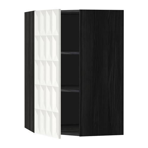 МЕТОД Угловой навесной шкаф с полками - 68x100 см, Гэррестад белый, под дерево черный