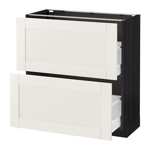 МЕТОД / МАКСИМЕРА Напольный шкаф с 2 ящиками - 80x37 см, Сэведаль белый, под дерево черный