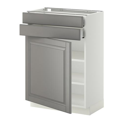 МЕТОД / МАКСИМЕРА Напольный шкаф с дверцей/2 ящиками - 60x37 см, Будбин серый, белый