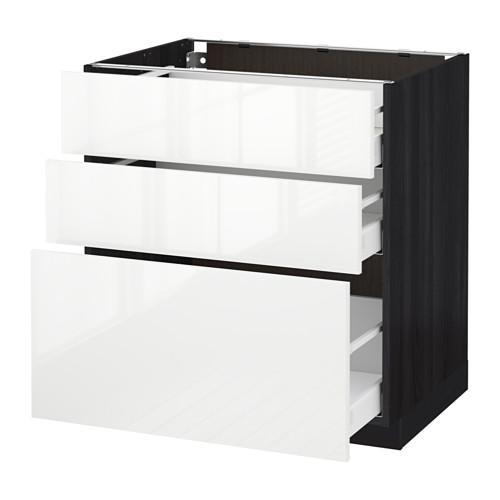 МЕТОД / МАКСИМЕРА Напольный шкаф с 3 ящиками - 80x60 см, Рингульт глянцевый белый, под дерево черный