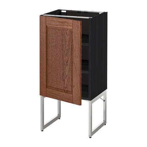 МЕТОД Напольный шкаф с полками - 40x37x60 см, Филипстад коричневый, под дерево черный