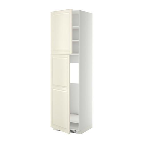 МЕТОД Высокий шкаф д/холодильника/2дверцы - 60x60x220 см, Будбин белый с оттенком, белый