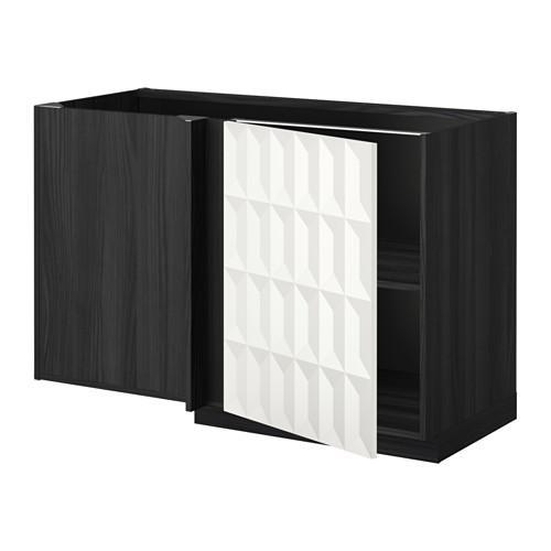 МЕТОД Угловой напольный шкаф с полкой - Гэррестад белый, под дерево черный