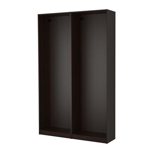 ПАКС 2 каркаса гардеробов - черно-коричневый, 150x35x236 см