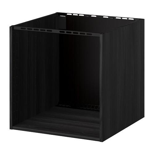 МЕТОД Шкаф для встр варочной панели/мойки - под дерево черный, 60x60x60 см