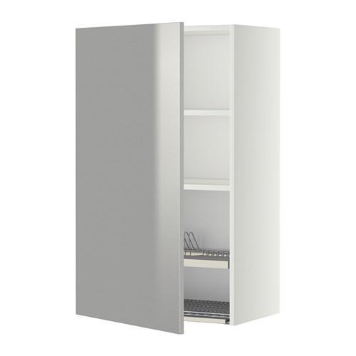 МЕТОД Шкаф навесной с сушкой - 60x100 см, Гревста нержавеющ сталь, белый