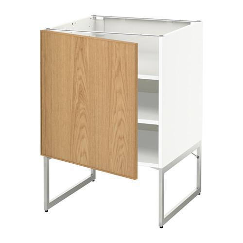 МЕТОД Напольный шкаф с полками - 60x60x60 см, Экестад дуб, белый