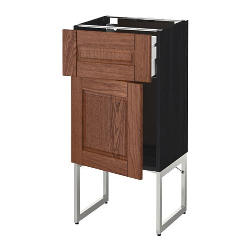 МЕТОД / МАКСИМЕРА Напольный шкаф с ящиком/дверью - 40x37x60 см, Филипстад коричневый, под дерево черный