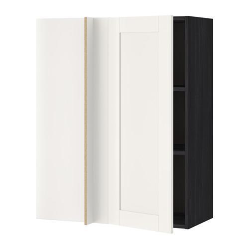 MÓDSZER Corner szekrény polcokkal - fa fekete, fehér Sevedal ...