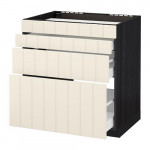 METHOD / MAXIMER Nap oven cabinet / 4 facade / 3 drawer - for wood black, Hitharp white with hue, 80x60 cm