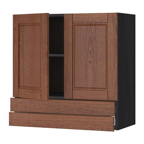 МЕТОД / МАКСИМЕРА Навесной шкаф/2дверцы/2ящика - 80x80 см, Филипстад коричневый, под дерево черный