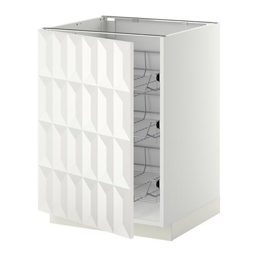 МЕТОД Напольный шкаф с проволочн ящиками - 60x60 см, Гэррестад белый, белый