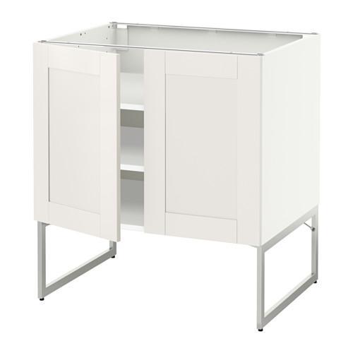 МЕТОД Напол шкаф с полками/2двери - 80x60x60 см, Сэведаль белый, белый