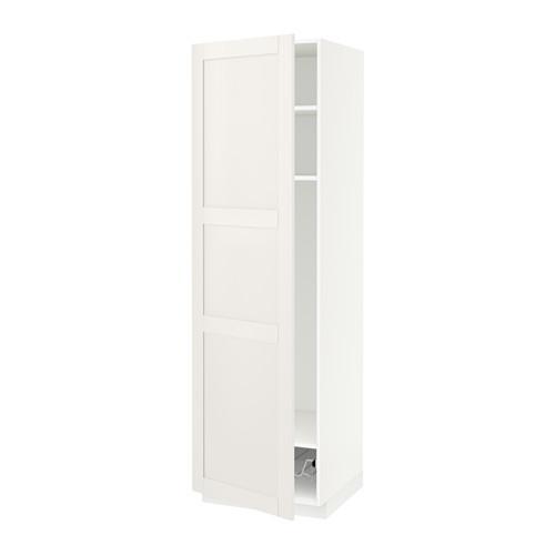 МЕТОД Выс шкаф с полками/проволоч корзин - 60x60x200 см, Сэведаль белый, белый