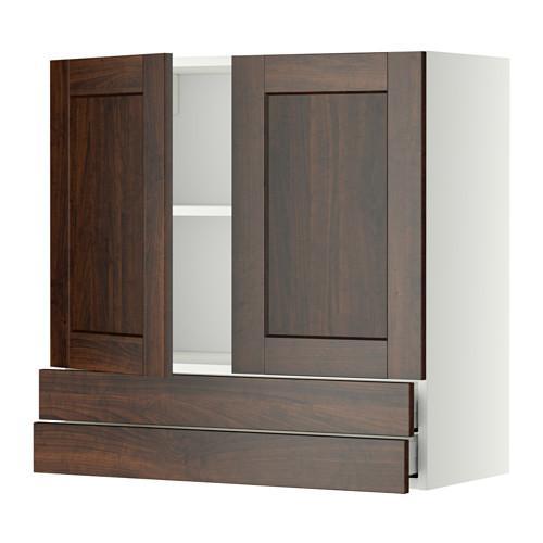 МЕТОД / МАКСИМЕРА Навесной шкаф/2дверцы/2ящика - 80x80 см, Эдсерум под дерево коричневый, белый