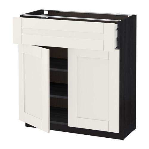 МЕТОД / МАКСИМЕРА Напольный шкаф+ящик/2дверцы - 80x37 см, Сэведаль белый, под дерево черный