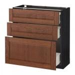 МЕТОД / ФОРВАРА Напольный шкаф с 3 ящиками - 80x37 см, Филипстад коричневый, под дерево черный