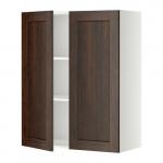 МЕТОД Навесной шкаф с полками/2дверцы - 80x100 см, Эдсерум под дерево коричневый, белый