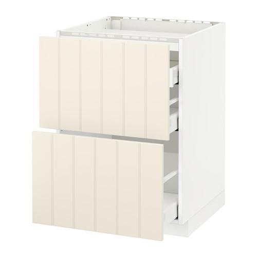 МЕТОД / МАКСИМЕРА Напольн шкаф/2 фронт пнл/3 ящика - 60x60 см, Хитарп белый с оттенком, белый