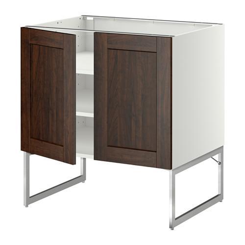 МЕТОД Напол шкаф с полками/2двери - 80x60x60 см, Эдсерум под дерево коричневый, белый