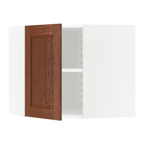 МЕТОД Угловой навесной шкаф с полками - 68x60 см, Филипстад коричневый, белый