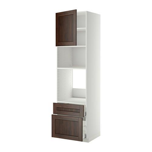 METODO MAKSIMERA Mobile alto d forno microonde porta 2yasch bianco, Edserum legno marrone, 60x60x220 cm