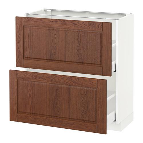 МЕТОД / МАКСИМЕРА Напольный шкаф с 2 ящиками - 80x37 см, Филипстад коричневый, белый