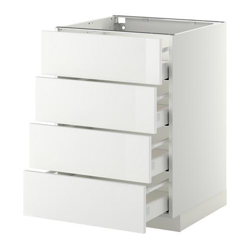 МЕТОД / МАКСИМЕРА Напольн шкаф 4 фронт панели/4 ящика - 60x60 см, Рингульт глянцевый белый, белый