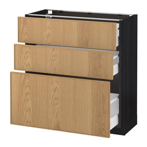 МЕТОД / МАКСИМЕРА Напольный шкаф с 3 ящиками - 80x37 см, Экестад дуб, под дерево черный