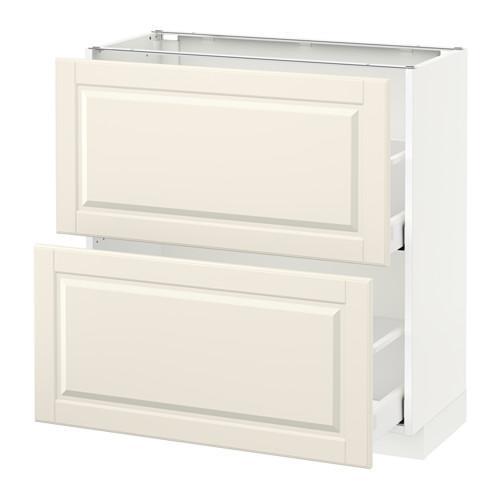 МЕТОД / МАКСИМЕРА Напольный шкаф с 2 ящиками - 80x37 см, Будбин белый с оттенком, белый