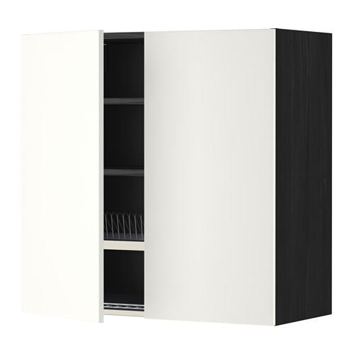 МЕТОД Навесной шкаф с посуд суш/2 дврц - 80x80 см, Хэггеби белый, под дерево черный
