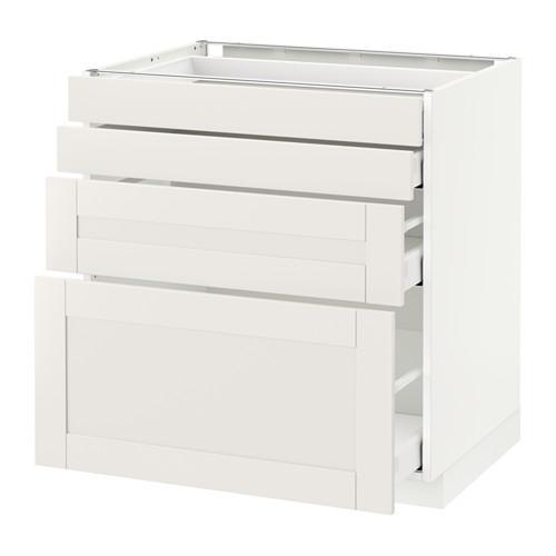 МЕТОД / МАКСИМЕРА Напольн шкаф 4 фронт панели/4 ящика - 80x60 см, Сэведаль белый, белый