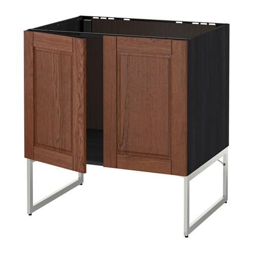 МЕТОД Напольн шкаф д раковины+2 двери - Филипстад коричневый, под дерево черный