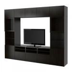 БЕСТО Шкаф для ТВ, комбин/стеклян дверцы - Лаппвикен/Синдвик черно-коричневый прозрачное стекло, направляющие ящика,нажимные