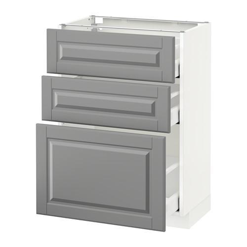 МЕТОД / МАКСИМЕРА Напольный шкаф с 3 ящиками - 60x37 см, Будбин серый, белый