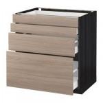 МЕТОД / МАКСИМЕРА Напольн шкаф 4 фронт панели/4 ящика - 80x60 см, Брокхульт под грецкий орех светло-серый, под дерево черный