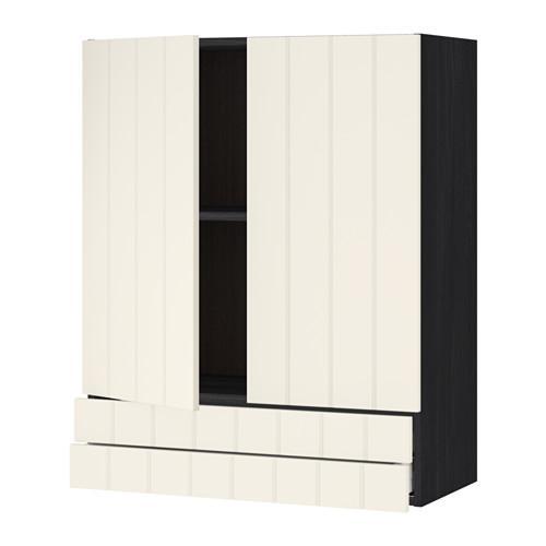 МЕТОД / МАКСИМЕРА Навесной шкаф/2дверцы/2ящика - 80x100 см, Хитарп белый с оттенком, под дерево черный
