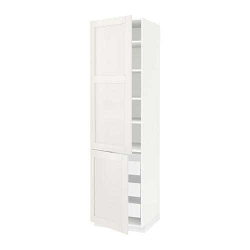 МЕТОД / МАКСИМЕРА Высокий шкаф+полки/3 ящика/2 дверцы - 60x60x220 см, Сэведаль белый, белый