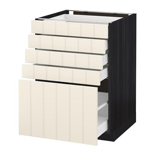МЕТОД / МАКСИМЕРА Напольный шкаф с 5 ящиками - 60x60 см, Хитарп белый с оттенком, под дерево черный