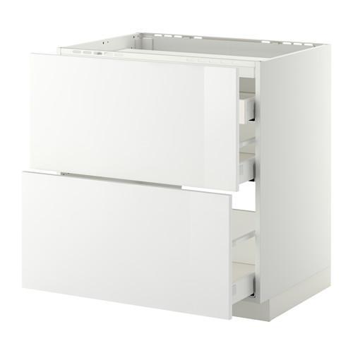 МЕТОД / МАКСИМЕРА Напольн шкаф/2 фронт пнл/3 ящика - 80x60 см, Рингульт глянцевый белый, белый