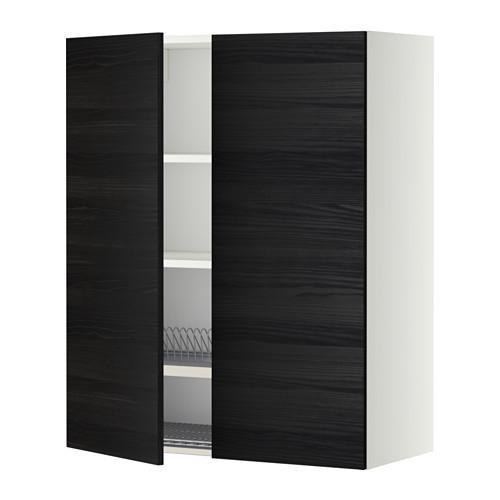 МЕТОД Навесной шкаф с посуд суш/2 дврц - 80x100 см, Тингсрид под дерево черный, белый