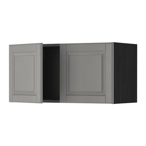 МЕТОД Навесной шкаф с 2 дверями - Будбин серый, под дерево черный